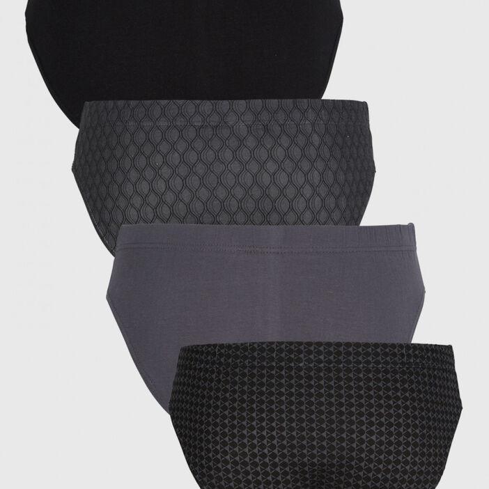 Lot 4 slips coordonnés coton homme noir