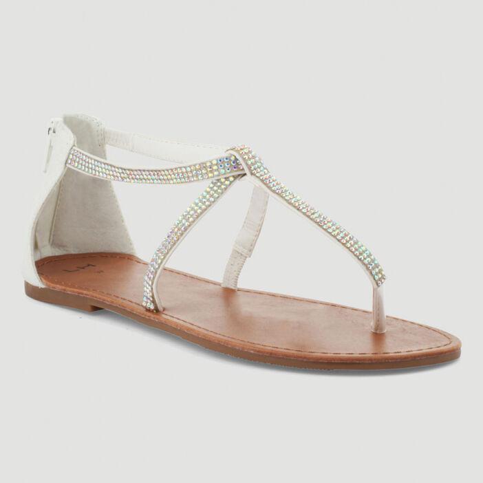 Sandales à entredoigt avec strass femme blanc