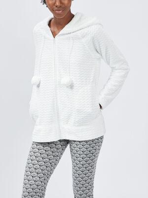 Gilet de pyjama a capuche ecru femme