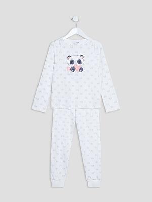 Ensemble pyjama 2 pieces blanc fille