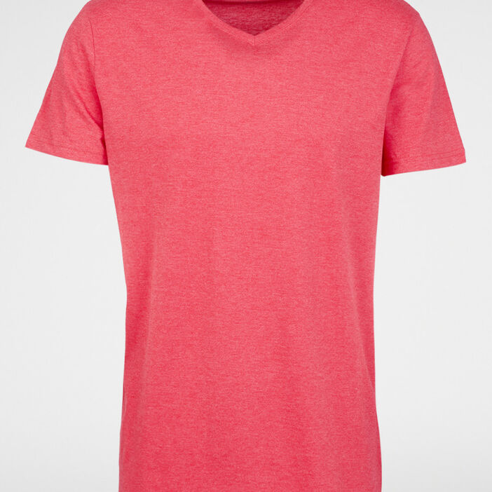 T-shirt col V en coton homme rouge