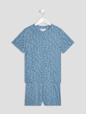 Ensemble pyjama 2 pieces bleu garcon