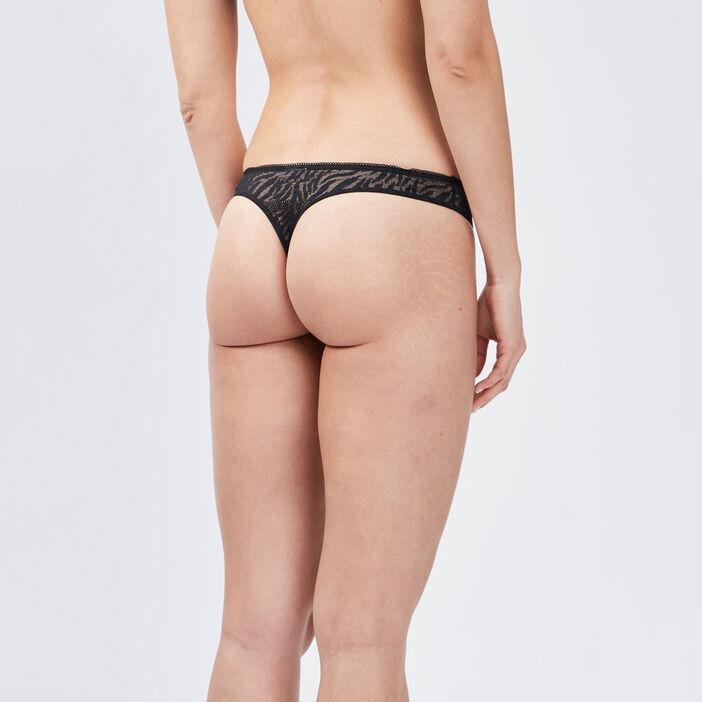 Culotte string femme noir