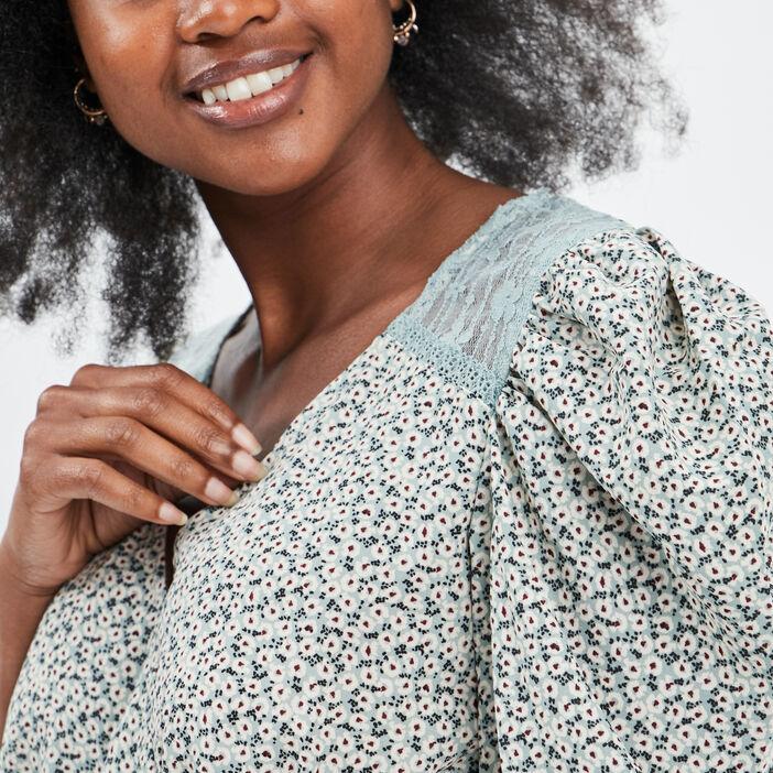 Robe droite taille élastiquée femme vert pastel