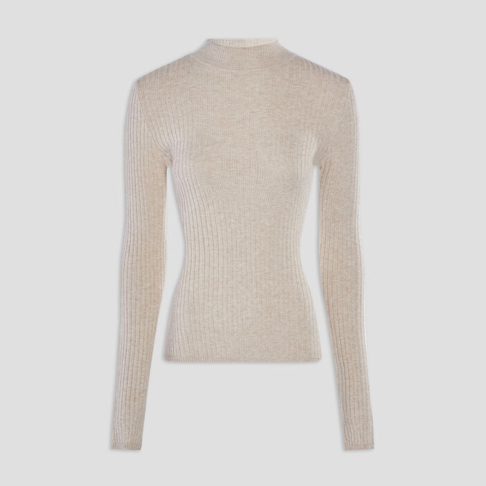 Pull col montant femme beige