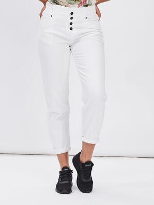 Pantalon boutonne ecru femme
