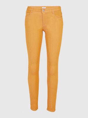 Pantalon slim uni jaune moutarde femme