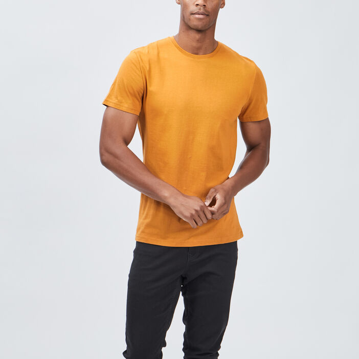 T-shirt manches courtes homme jaune moutarde