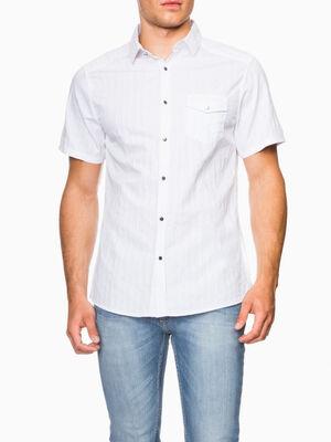Chemise en coton rayures ton sur ton blanc homme