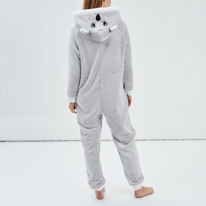 Combinaison de pyjama femme gris clair