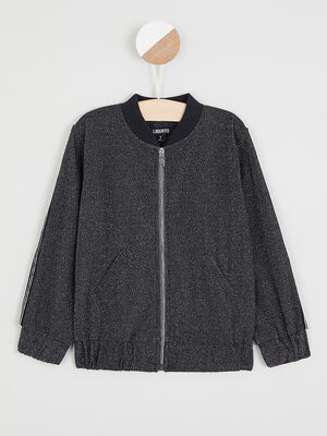 Sweatshirt zippe avec poche raglan noir fille