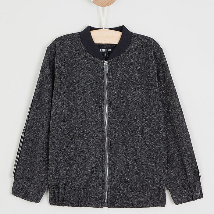 Sweatshirt zippé avec poche raglan fille noir