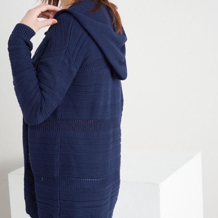 Gilet uni ouvert à capuche femme bleu marine