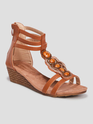 Sandales compensees marron femme