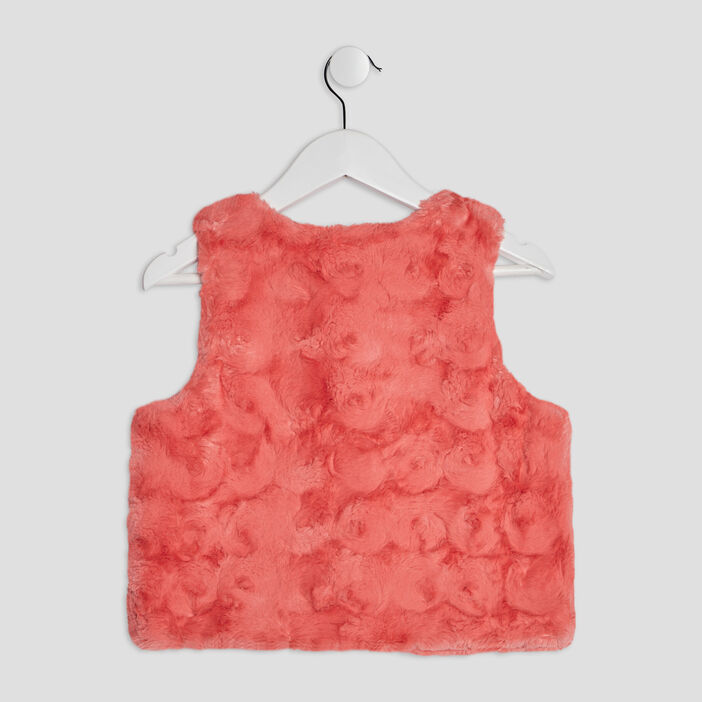 Gilet sans manches fille orange corail