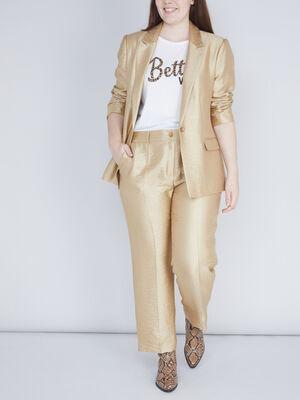 pantalon de costume dore jaune moutarde femme