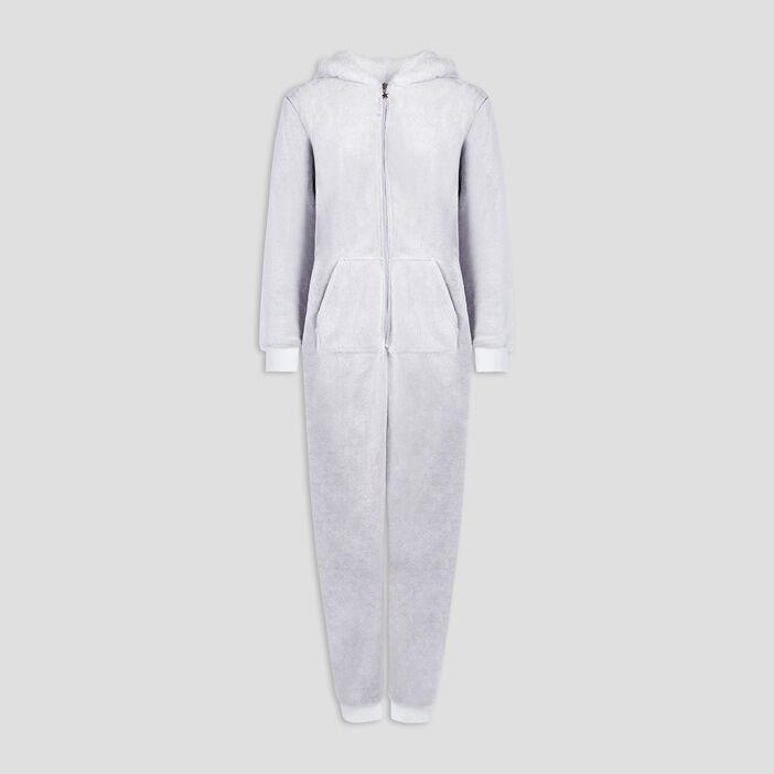Pyjama combinaison chat à capuche femme taupe