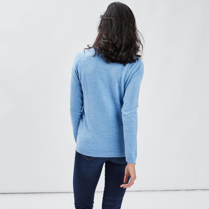 Pull manches longues femme bleu lavande