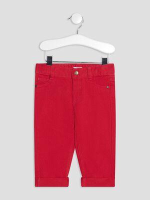 Pantalon droit taille ajustable rouge bebeg