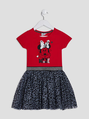 Robe evasee Minnie rouge fille