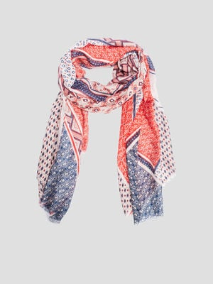 Foulard rectangle imprime multicolore femme