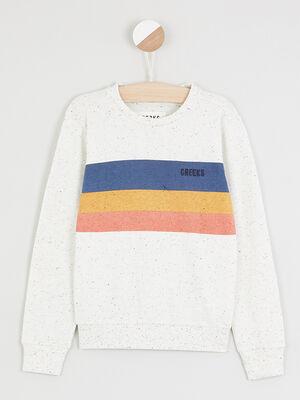 Sweatshirt avec rayures devant ecru garcon
