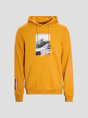 Sweat a capuche jaune moutarde homme