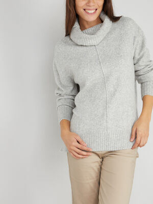 Pull a col roule maille chinee gris femme