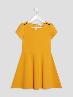 Robe evasee manches courtes jaune moutarde fille
