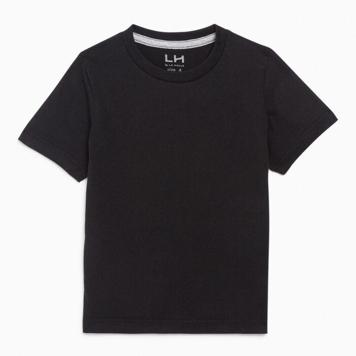 T-shirt coupe droite en coton garçon noir