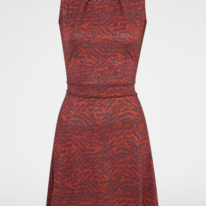Robe évasée coton avec bijou femme rouge
