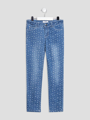 Jeans slim taille ajustable denim stone fille