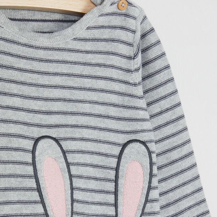 Pull rayé imprimé lapin bébé fille gris