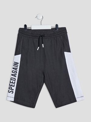 Short droit taille elastiquee noir garcon