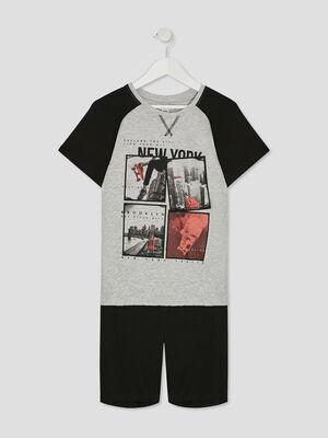 Pyjashort Imprime noir garco