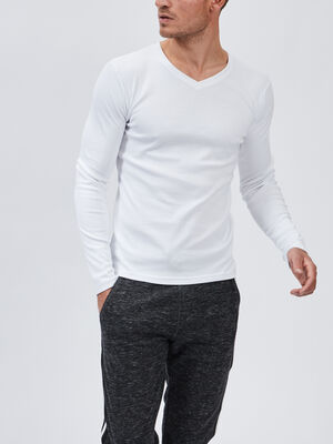 T shirt manches longues blanc homme