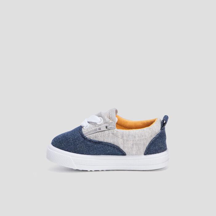 Tennis en toile zippées bébé fille bleu