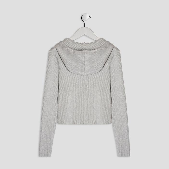 Gilet zippé à capuche fille gris