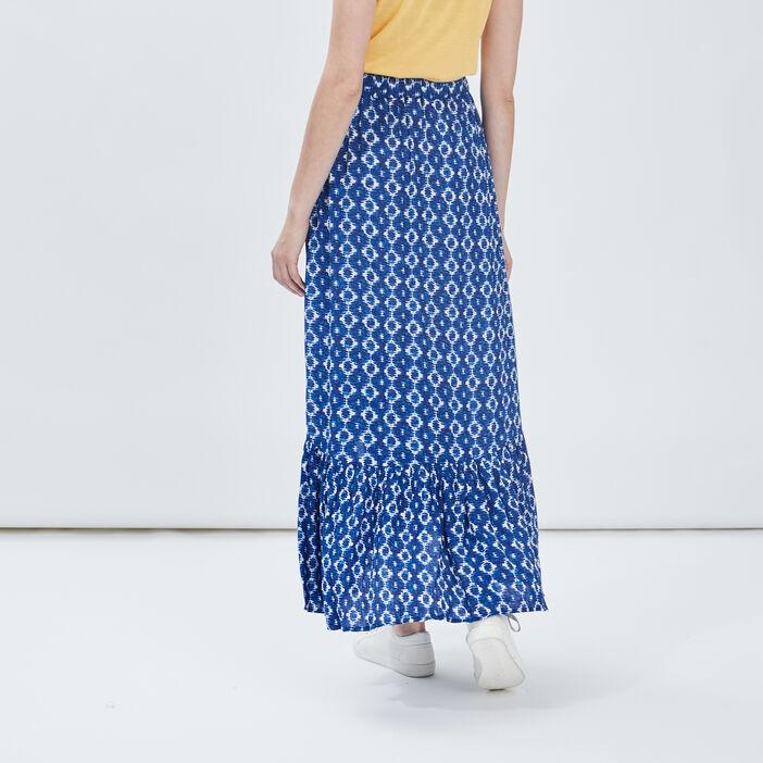 Jupe longue évasée asymétrique femme bleu