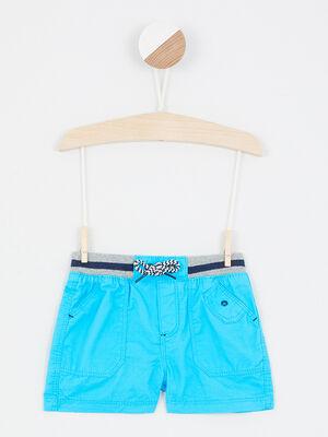 Bermuda coton a taille elastiquee bleu turquoise garcon