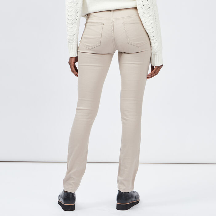 Pantalon skinny taille basse femme beige