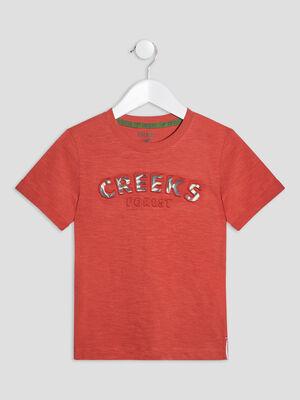 T shirt manches courtes Creeks orange fonce garcon