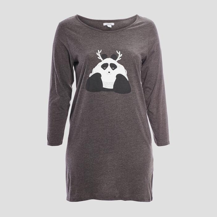 Chemise de nuit grande taille femme gris foncé
