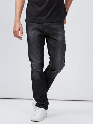 Jeans straight effet delave noir homme