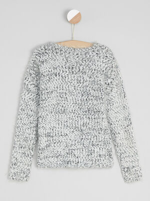 Pull maille fantaisie gris clair fille