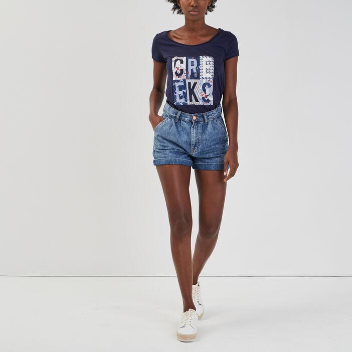 T-shirt manches courtes Creeks femme bleu marine