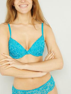 Soutien gorge corbeille bleu turquoise femme