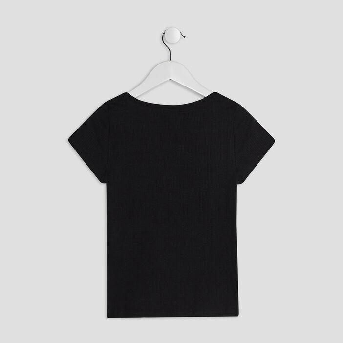 T-shirt côtelé Liberto fille noir