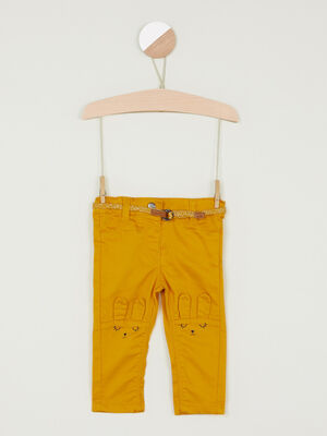 Pantalon coupe slim broderies lapin jaune fille