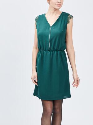 Robe droite sans manches vert femme
